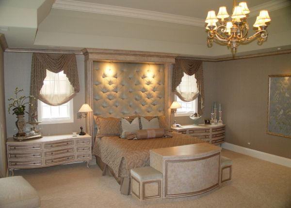 classic tufted headboard design with gorgeous in built