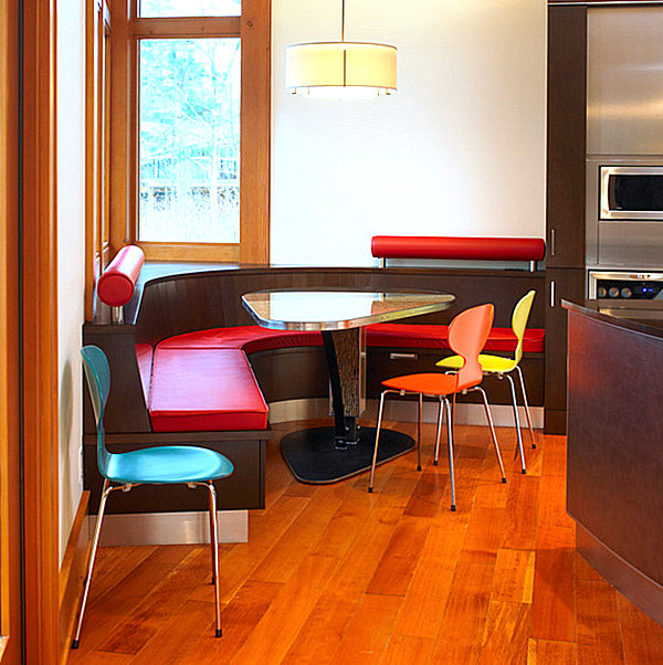 Colorful booth seating in a modern kitchen decoist - Kitchen table booth seating ...