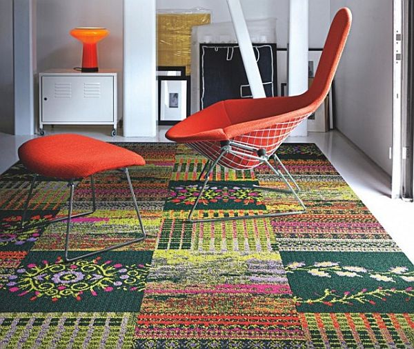 Colorful carpet rug with tiles