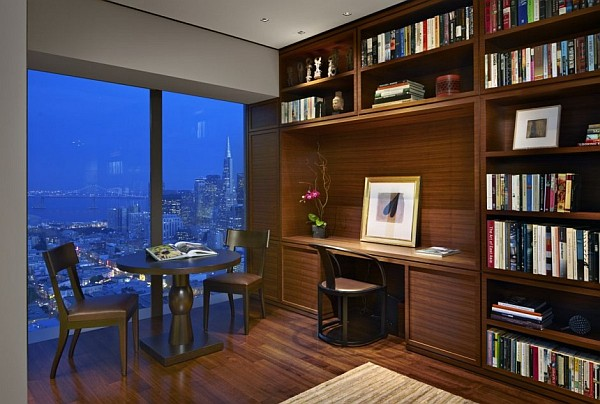 Contemporary design study room in fancy apartment