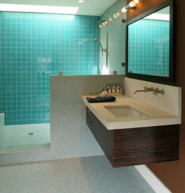 Cool blue bathroom enhanced with compact floating sink