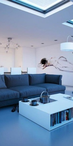 Cool blue living room stylishly lit up by daft placing of  skylights