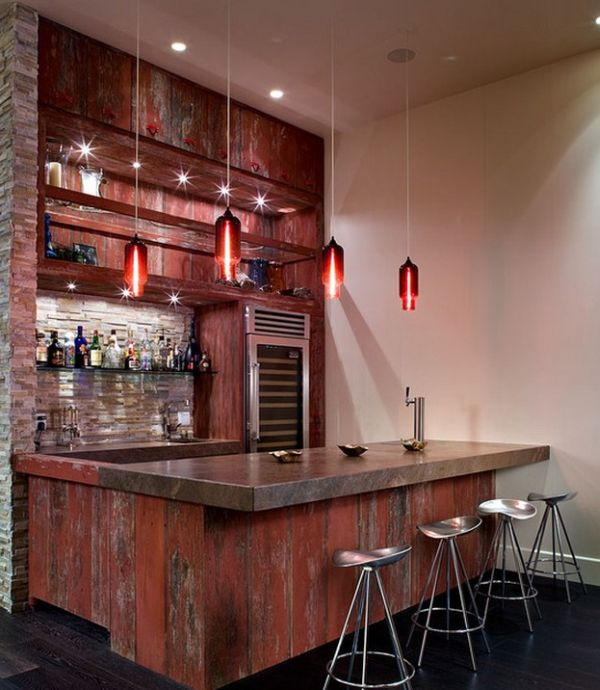 Creative and vivacious pendant lights give this home bar an exclusive look