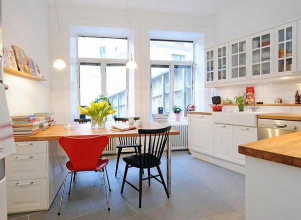 Scandinavian Kitchen Design view in gallery small and stylish scandinavian kitchen with breakfast nook and floating wooden shelves design studio View In Gallery Crisp Scandinavian Kitchen Design 20 Scandinavian Kitchen Design Ideas