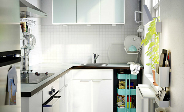 Crisp white Scandinavian kitchen with colorful accents 20 Scandinavian Kitchen Design Ideas