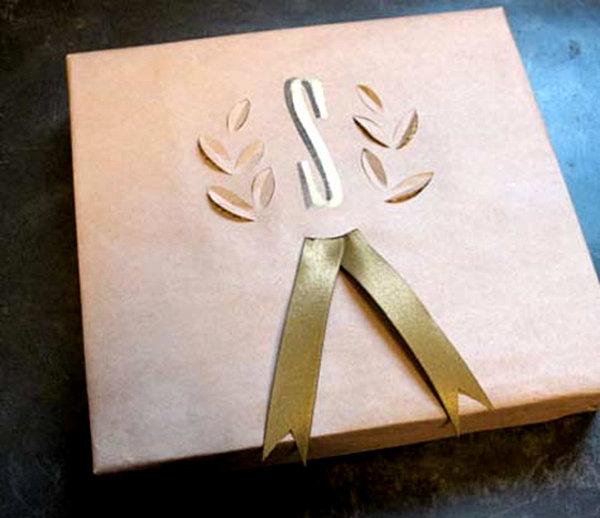 Cut paper gift wrap design