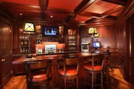 Dark and rich home bar in red cherry