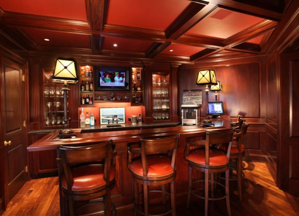 View in gallery Dark and rich home bar in red cherry