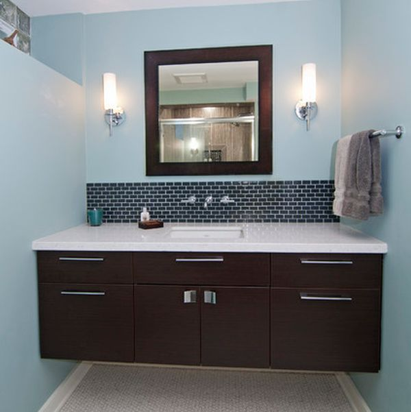Beau View In Gallery Dark Floating Cabinet With A White Countertop And An  Undermount Sink