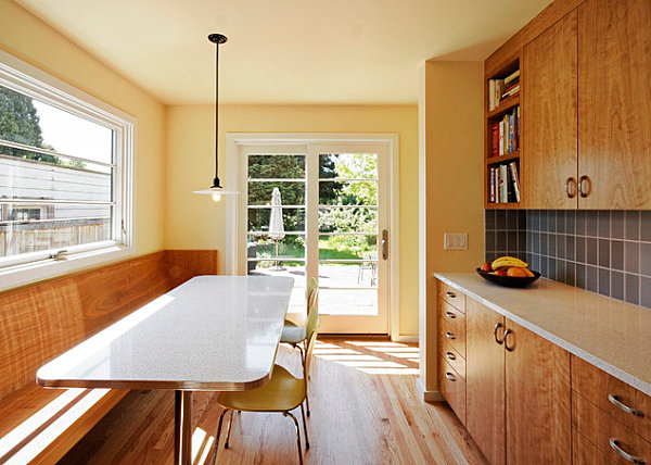 Diner-style seating in a modern kitchen
