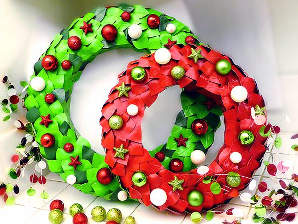 Duct Tape Wreaths in Green and Red help spread the holiday spirit 13 Awesome Duct Tape Crafts for Home to Design Exclusive Interiors!