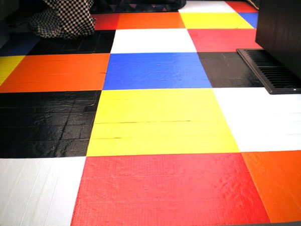 Duct Tape covered flooring for a vivacious look