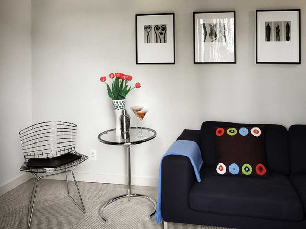 Eileen Gray Table in a modern living rom