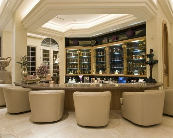 Elaborate design for a contemporary home bar in neutral hues