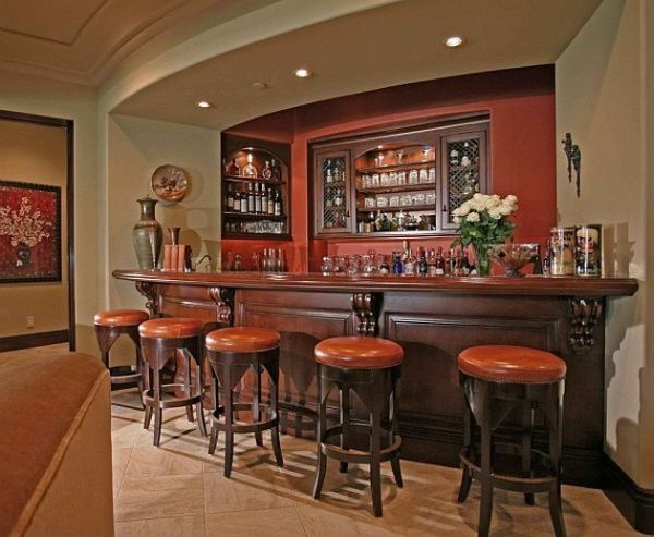Elegant home bar with pleasing colors and form