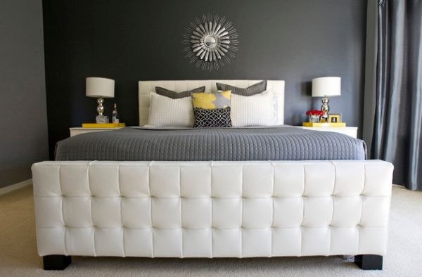 Elegant tufted headboard completes this soothing bedroom