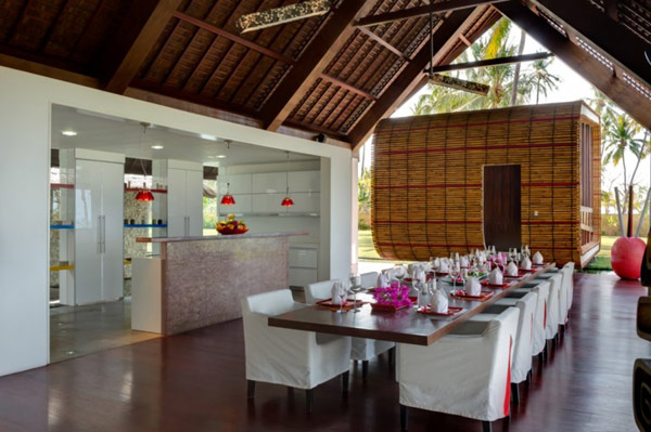 Elegant use of Bamboo and stone offers an Asian flavor