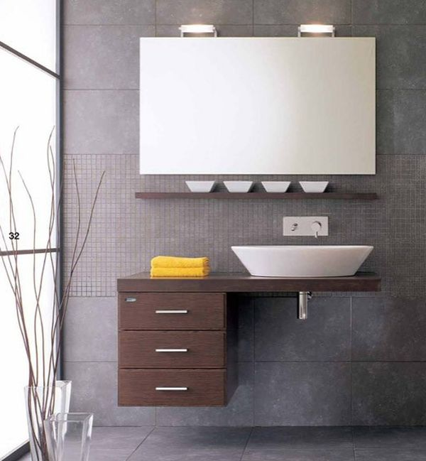 stylish floating sink and cabinet set in a semi minimalist setting