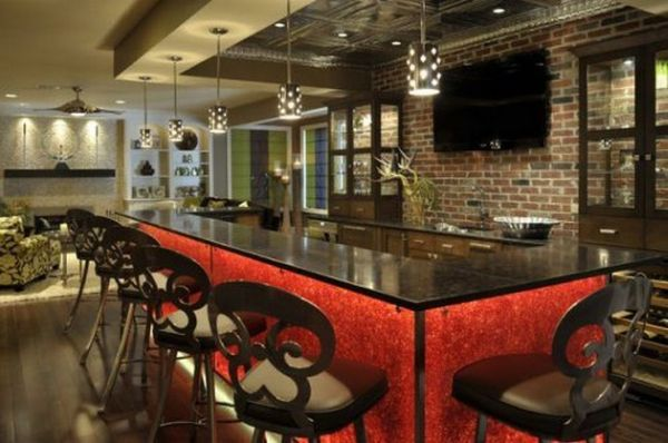 Extravagant home bar detailed in attractive red and black hues