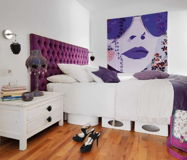 View In Gallery Fashionable Apartment Loft Bedroom With Bright Purple  Tufted Headboard