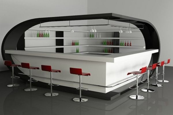 Futuristic home bar employs red and white