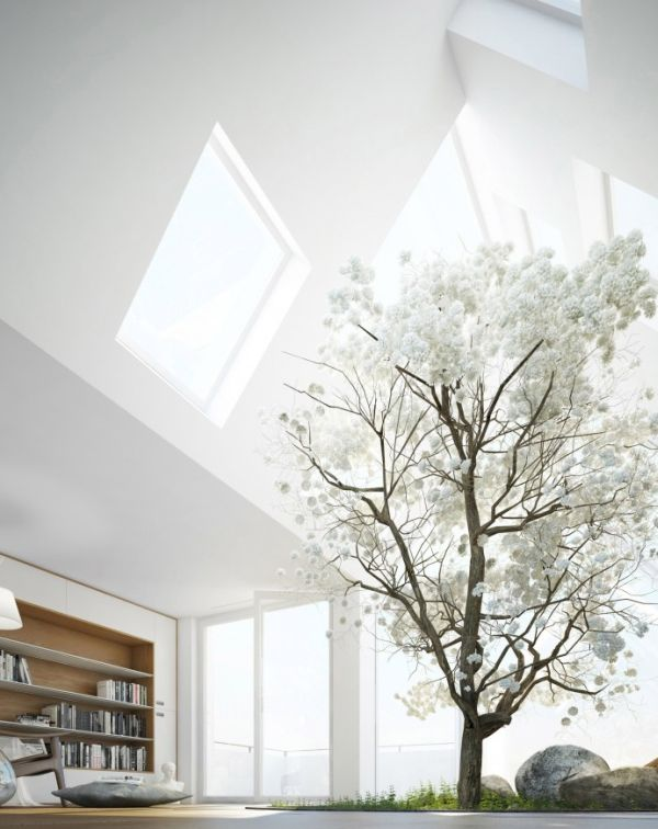 Giant Skylights bring the snowy white room to life