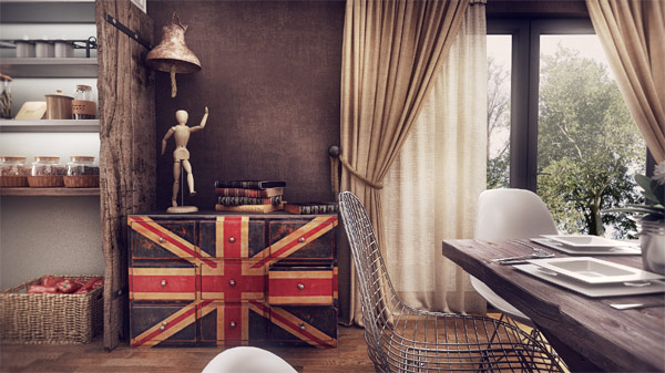 Giant wooden shelf that stands out sporting the Union Jack