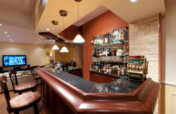 gorgeous home bar tries to incorporate a bit of vegas charm