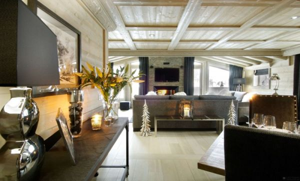 Gorgeous living space at the cabin Luxurious Black Pearl Chalet For Stunning Holidays in the French Alps