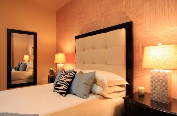 Amazing View In Gallery Gorgeous Tufted Headboard In Light Shade Framed By Dark Wood