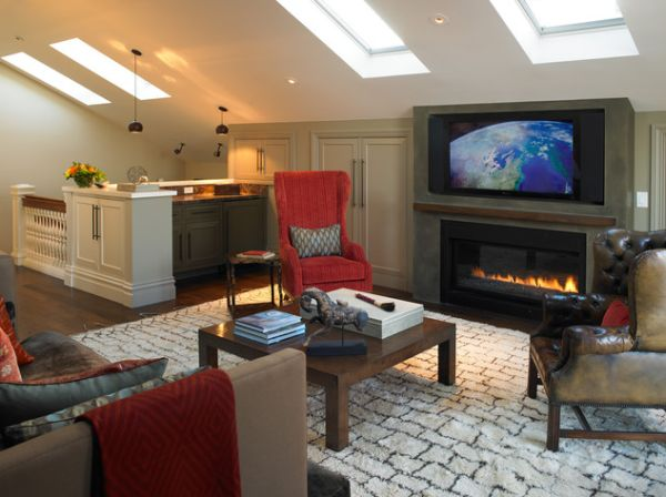 interesting living room | 30 Inspirational Ideas for Living Rooms with Skylights
