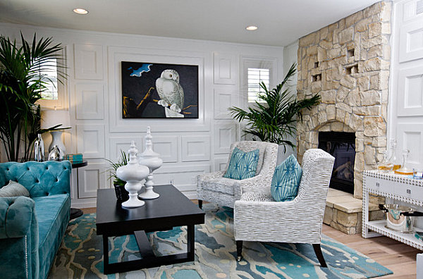 Grey-and-white-patterned-armchairs