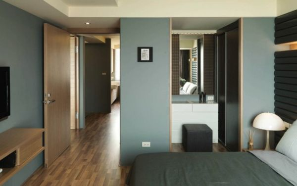Guest Bedroom with blue gray walls