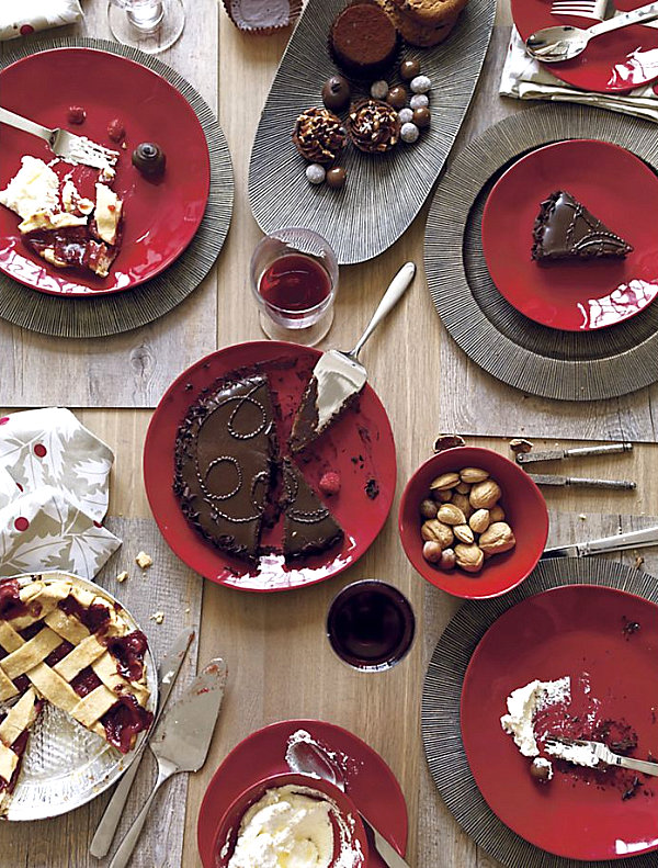 Holiday dinnerware in shades of red and grey