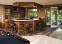Bar Design Ideas For Home traditional l shaped basement bar with high countertop installed stained maple wood with black Inspirational Home Bar Design Why Go Somewhere Else For A Bit Of Intoxicated Fun When You Can Have It All At Your Own Residence