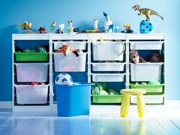 Ikea kids rooms catalog shows vibrant and ergonomic design - Etagere avec bac rangement pour jouet ...