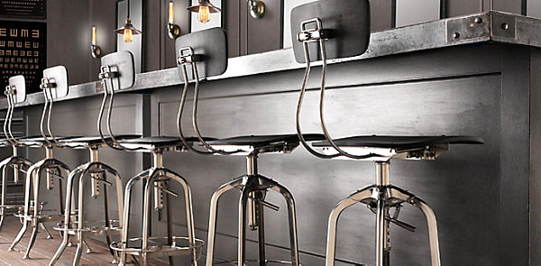 Chic restaurant tables and chairs for the modern home for Industrial design bar stools