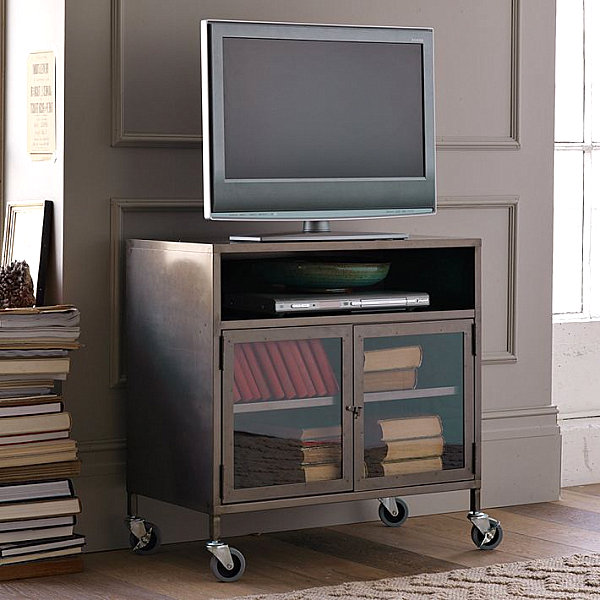 Industrial metal TV cart