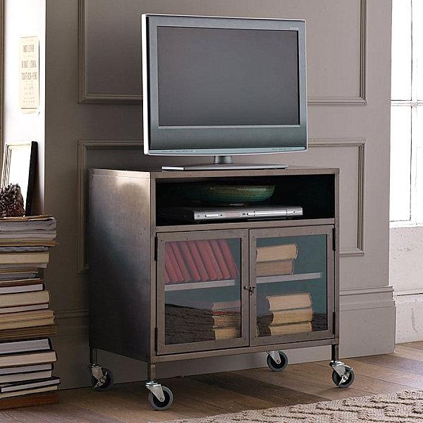 Industrial metal TV cart