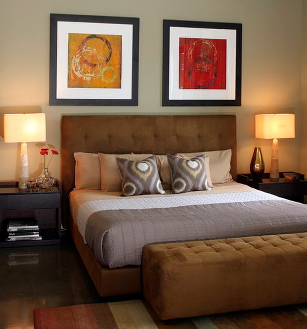 Interesting art work to enhance the beauty of the tufted headboard underneath