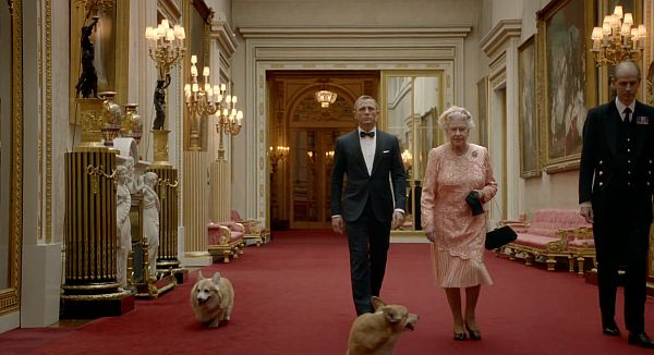 James Bond and the Queen's Olympic Sketch (they parachute from a helicopter after a very formal meeting at Buckingham)
