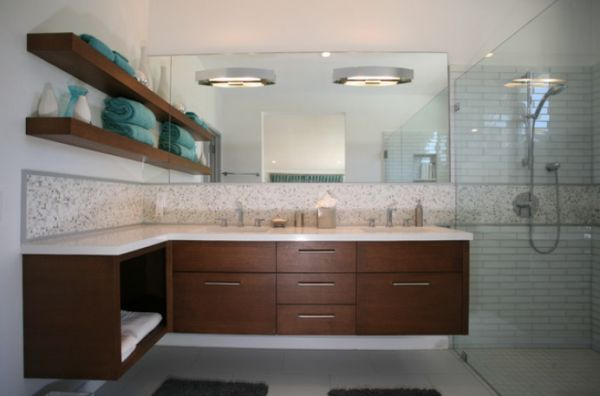 Lavish cherry bathroom cabinet floating effortlessly