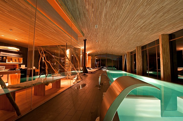 Lavish home spa design with wooden walls and sleek floors