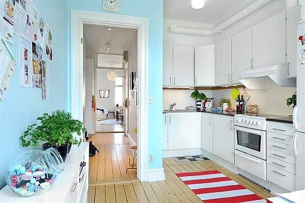 Light blue Scandinavian kitchen