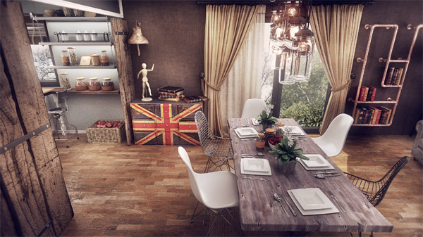 Living and Dining spaces flowing into one another