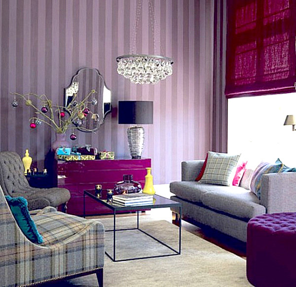 Living room in shades of purple