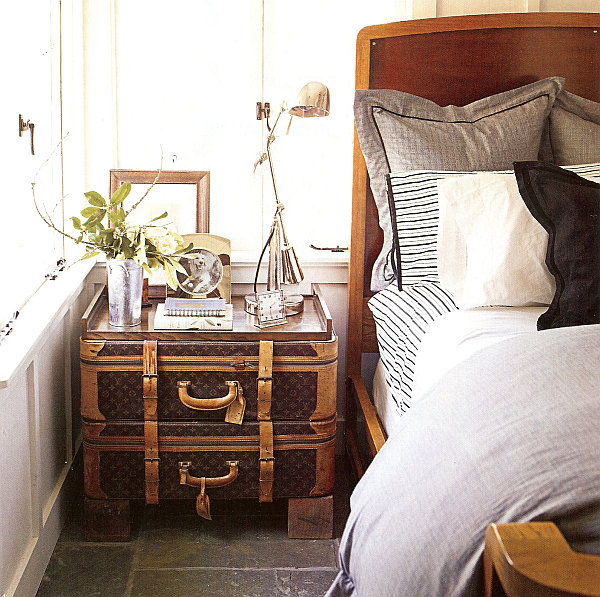 Louis Vuitton vintage trunks as nightstand