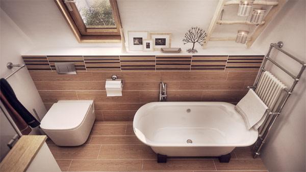 Lovely use of wood around white bathtub