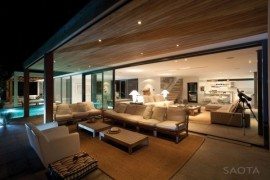 Luxurious wooden interiors with ambient lighting