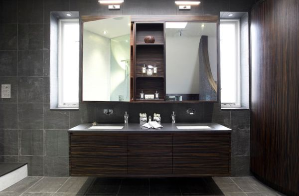 Luxury Floating Bathroom Vanity Stunningly Lit By LED Lights
